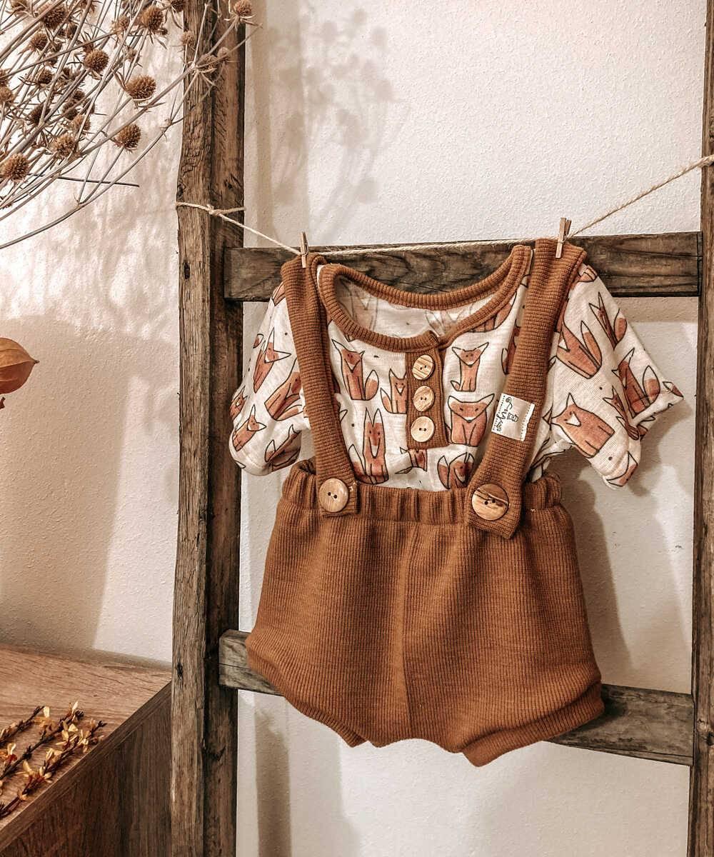 Bummie Shorts T-Shirt Merinowolle Wolle/Seide Natürlich goldig
